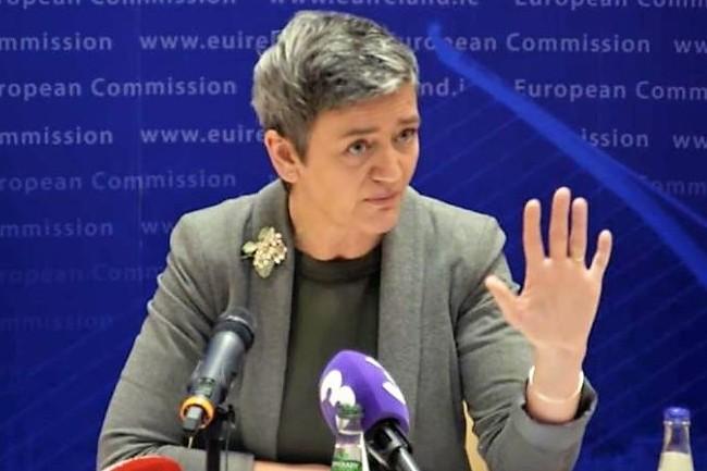 La commissaire européenne à la concurrence Margrethe Vestager lors d'une conférence de presse à Dublin le 31 janvier 2017. (crédit : D.R.)