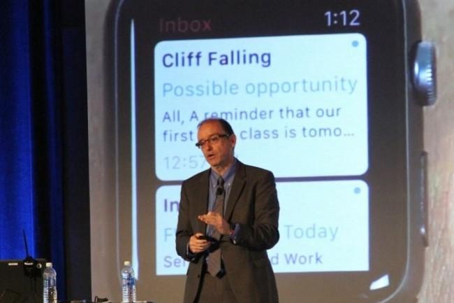 Franck Cotter, vice-pr�sident des produits pour entreprises de Blackberry s'exprimant � l'occasion du Security Summit 2016 le 19 juillet dernier � New York. (cr�dit : Blackberry)
