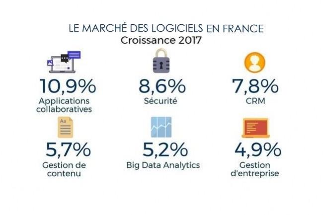 Sur le marché du logiciel en France en 2017, IDC anticipe que la plus forte progression se fera sur les applications et les produits de sécurité. (crédit : IDC)