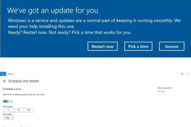 Ecran de planification de mise à jour de Windows Creators Update. (crédit : Microsoft)