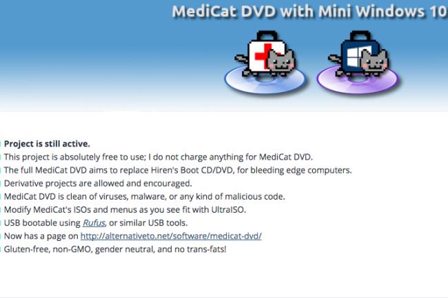 MediCat vinet au secours des utilisateurs confrontés à des problèmes de partitions, de boot et de virus. (crédit : D.R.)
