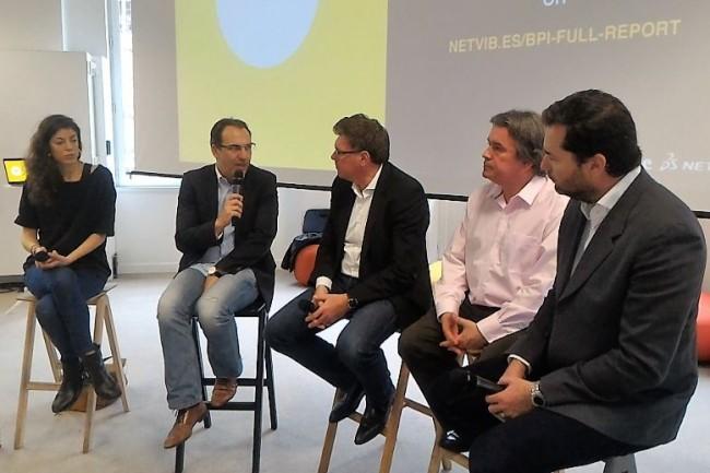 Axelle Tessandier (fondatrice d'Axl Agency), Bertrand Diard (président et CEO d'Influans), Paul-François Fournier (directeur exécutif Innovation de Bpifrance), Freddy Mini (CEO Netvibes) et Jean Bourcereau (Managing Partners chez Ventech). crédit : D.F.