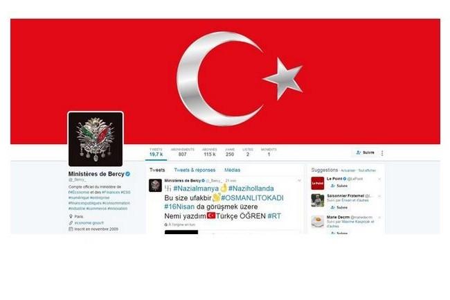 Le piratage de Twitter (ci-dessus le compte du Minefi caviardé), apparemment mené par des activistes turcs, intervient après une série d'échanges plutôt vifs entre la Turquie et plusieurs pays européen sur fond de campagne lié au prochain référendum turc. (crédit : D.R.)
