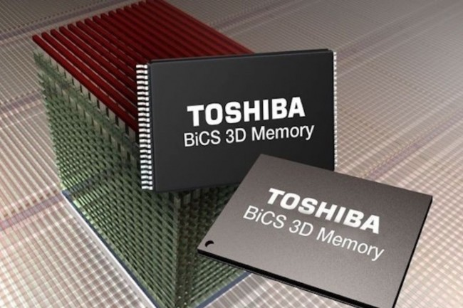 La mémoire flash NAND de Toshiba est basée sur la technologie 3D BICS du constructeur japonais. (crédit : D.R.)