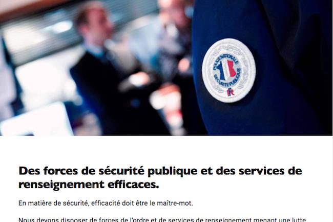 Sur les questions de sécurité et de renseignement, 'Emmanuel Macron est presque totalement aligné sur les positions du gouvernement. Et notamment, les promesses non tenues de F.Hollande.