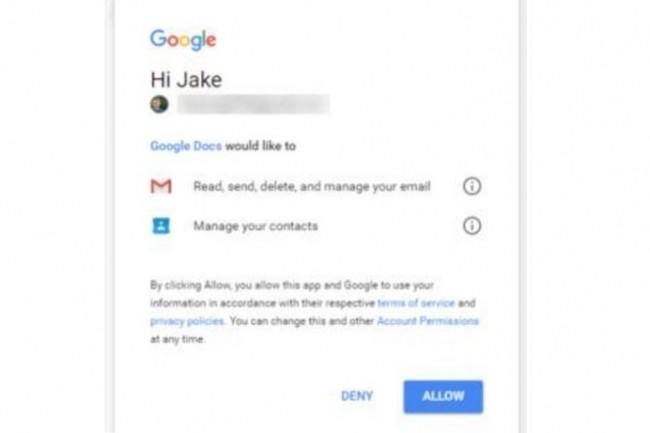 Ecran de tentative de compromission de compte Gmail via une fausse application Google Docs. (crédit : Reddit)