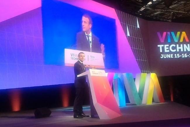 Le président de la République française, Emmanuel Macron, sur Viva Technology 2017. (crédit : D.F.)
