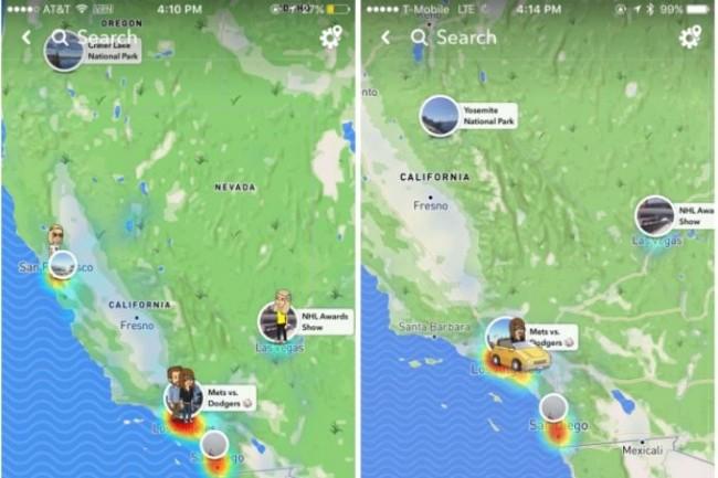 La fonctionnalité Snap Map ajoutée par Snap à sa messagerie permet de localiser précisément ses amis en temps réel. (crédit : D.R.)