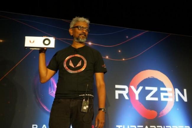 Raja Koduri,le responsable des architectures graphiques d'AMD avait présenté les Vega il y a quelques mois. (crédit photo : Gordon Mah Ung)