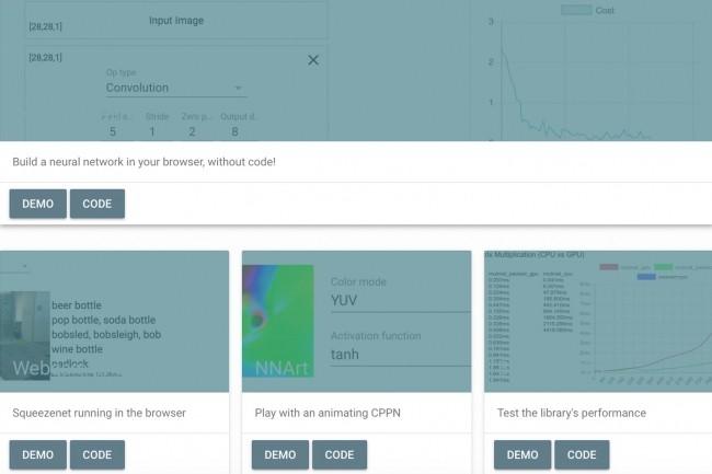 Des démonstrations de Deeplearn.js sont présentées sur la page d'accueil du projet conduit par les équipes de Google. (crédit : D.R.)