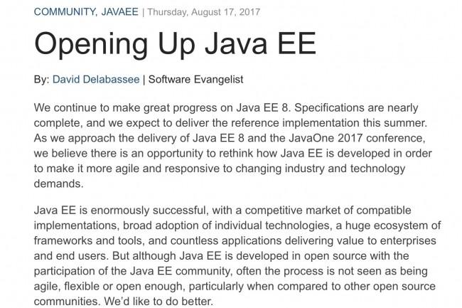 Sur le développement de Java EE, le processus piloté par Oracle n'est pas suffisamment agile, flexible et ouvert, expose dans un billet David Dalabassee, l'un des software evangelists de l'éditeur..