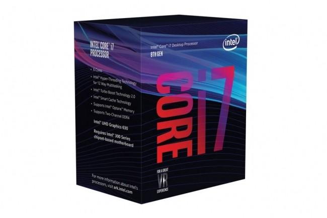 Tel qu'il est apparu sur le site web d'Intel, le packaging d'une puce Core i7 de 8e génération apparemment dotée de 6 coeurs. (crédit : Intel)