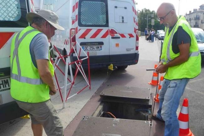 30 techniciens Orange sont mobilisés depuis mardi pour réparer la connexion de fibre optique ayant impacté 9 000 clients de l'opérateur à Montpellier. (crédit : Orange Occitanie)
