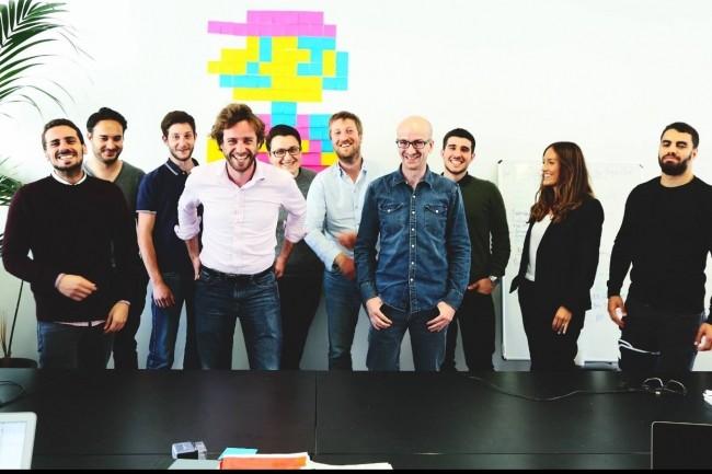 Hugues Peuchot, Nicolas Mutschler et Jérémie Di Prizio (au premier plan, au centre de la photo) ont co-fondé Skillup l'an dernier. (crédit : D.R.)