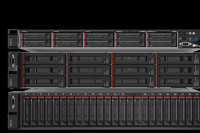 (De haut en bas) Les ThinkAgile VX 3000, 5000 et 7000 de Lenovo embarquent nativement les solutions de VMware afin de simplifier le déploiement des infrastructures de datacenter hyperconvergé. (crédit photo : Lenovo)