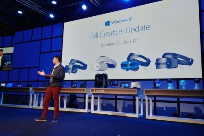 Terry Myerson, chef produit Windows 10, au lancement de la prochaine mise à jour Fall Creators.(Credit: Martyn Williams/IDG)