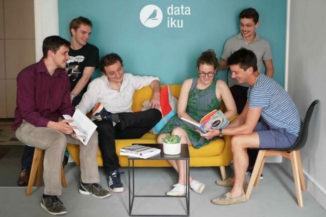 L'équipe de Dataiku vient de boucler un tour de table de série B pour passer à l'étape suivante sur sa plateforme de data science. (au 1er plan à gauche, les co-fondateurs Clément Stenac et Florian Douetteau)
