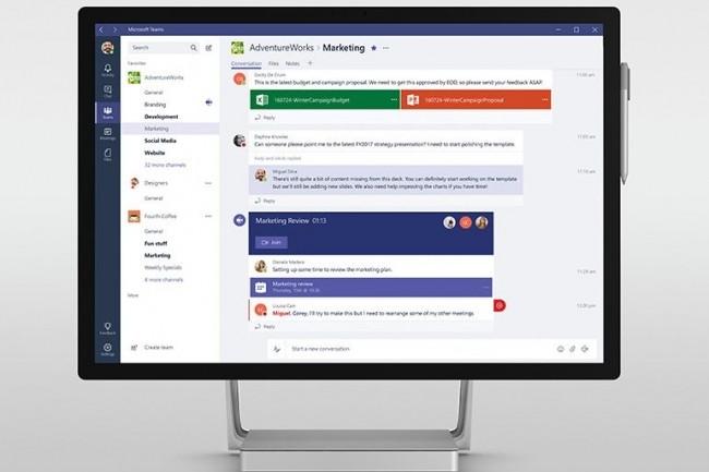 Avec Teams, Microsoft aimerait bien couper l'herbe sous le pied de la messagerie instantanée Slack au succès presque insolent. (crédit : D.R.)