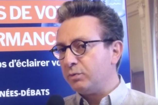 Martial Delpuech, directeur communication externe et marketing opérationnel d'Hub One, le 7 juillet 2017 à Paris. (crédit : LMI)