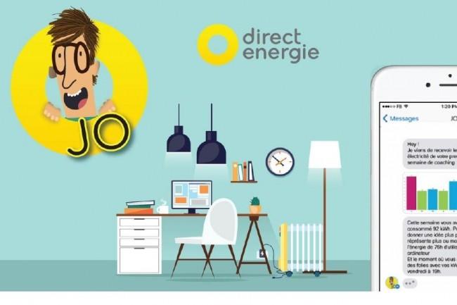 Jo, le chatbot proposé par Direct Energie, aidera les clients à mieux comprendre leur consommation énergétique. Crédit. D.R.