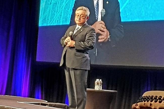 Toshiaki Higashihara, président et CEO de Hitachi, a assuré à Las Vegas le lancement de l'entité Hitachi Vantara. (Crédit S.L.)