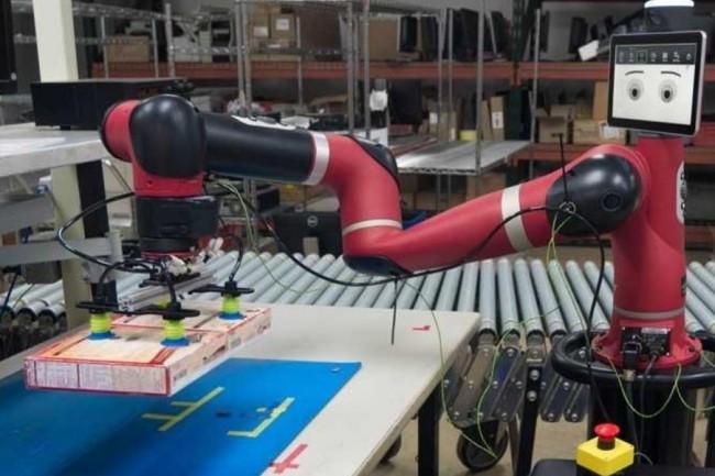 Un robot « Sawyer » utilisé sur un site DHL. (crédit : D.R.)
