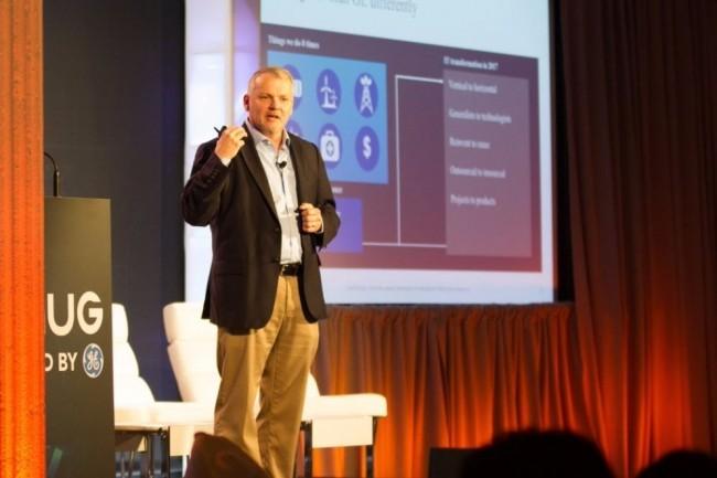 Jim Fowler, CIO de General Electric, intervenant lors de l'ONUG Fall Conference le 17 octobre. (crédit : ONUG)