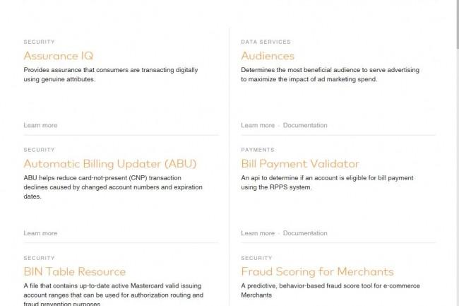 Plusieurs API sont proposés par Mastercard pour exploiter ses services blockchain.