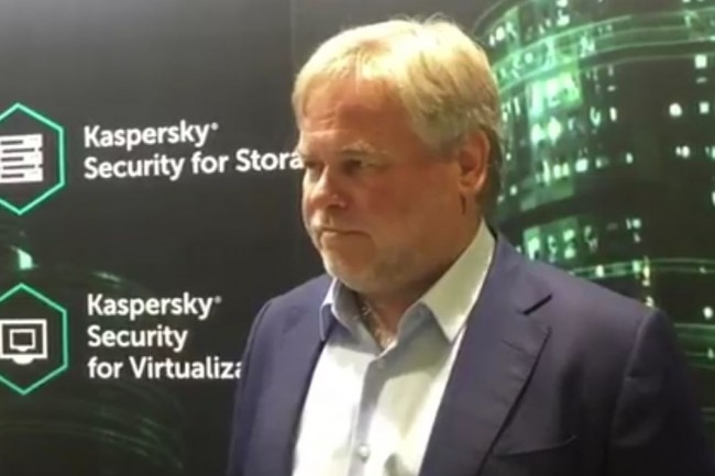 Eugene Kaspersky, PDG de Kaspersky Lab, interrogé sur  Interpol World 2017 en juillet dernier. (crédit : My Security Media Pty Ltd)