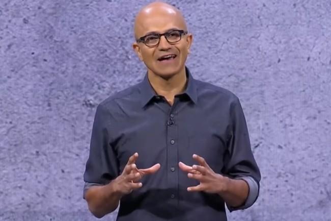 Satya Nadella, CEO de Microsoft sur la conférence Ignite 2017 à Orlando. (crédit : D.R.)