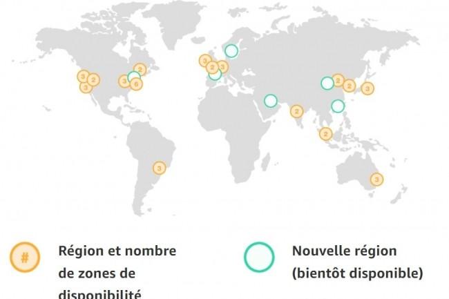 Présence des datacenters dans le monde d'AWS. (crédit : AWS)