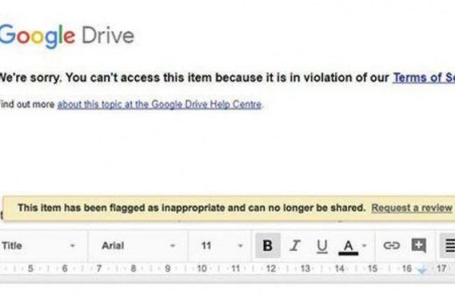 Message affiché suite à la consultation d'un document hébergé dans le cloud de Google. (crédit : D.R.)