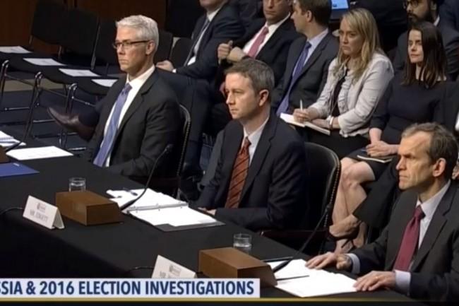 Audition le 1er novembre devant le Congrès des directeurs juridiques de Facebook (Colin Stretch), Twitter (Sean Edgett) et Google (Kent Walker). crédit : D.R.