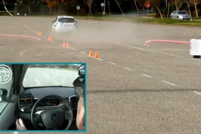 Une vidéo publiée par Renault permet de rendre compte du niveau très élevé de réactivité du système de conduite autonome testé ici sur une Zoé électrique. (crédit : Renault)