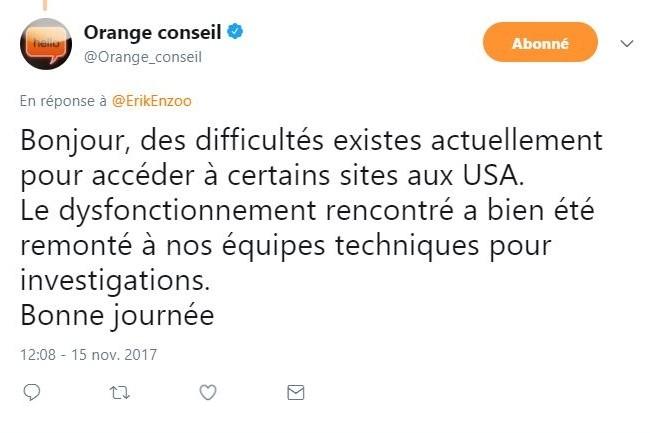La communication d'Orange sur les problèmes d'accès à des sites web transatlantiques est toujours aussi légère.