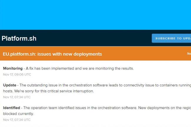Page de statut de la disponibilité de Platform.sh. (crédit : Platform.sh)