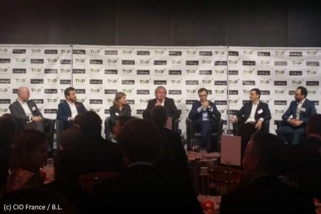 De gauche à droite : Emmanuel Solesse (TNP), David Giblas (Malakoff Mederic), Alice Holzman (La Banque Postale), Vincent Beaufils (Challenges), Marc Campi (BNP Paribas), Bertrand Cozzarolo (Société Générale), Jimmy Ricaut (Tangible Display).