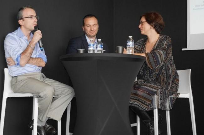 Une partie du plateau d'intervenants grands témoins de l'IT Tour 2017 à Toulouse : Yannick Soum (Responsable transformation AIM d'Airbus), Romain Bottan (CISO BoostAerospace et Membre du Cesin) ainsi que Céline Saez (responsable Systèmes d'information de Theseis). crédit : LMI