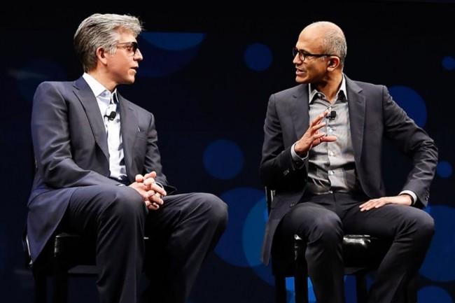 Bill McDermott (CEO de SAP) et Satya Nadella (CEO de Microsoft) réunis sur la scène de Sapphire Now en 2016. (crédit : D.R.)