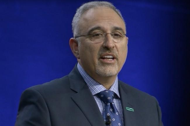 Antonio Neri, président et prochain CEO de Hewlett Packard Enterprise, a annoncé le Superdome Flex sur Discover 2017 dont les châssis sont reliés par la technologie Numalink de SGI. (crédit : HP)