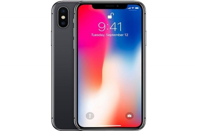 L'iPhone X, avec son «encoche» caractéristique et les noirs profonds de l'écran OLED. (Crédit: Apple)