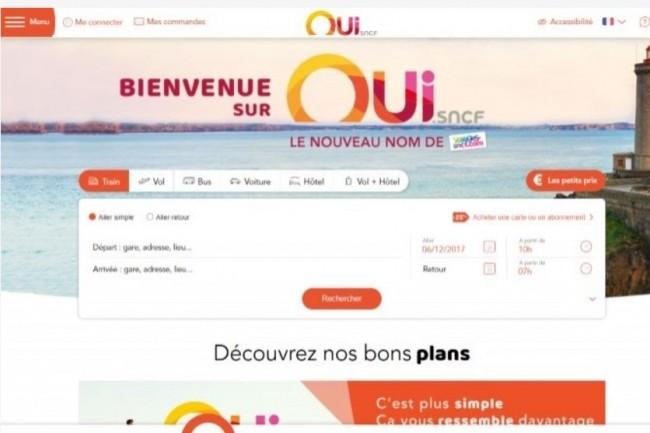 Voyages-SNCF.com est devenu Oui.sncf. (crédit : D.R.)