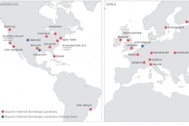 Six points d'échanges Internet supplémentaires viennent d'être ouverts par Equinix, ceux d'Amsterdam, Denver et Houston le seront début 2018. (crédit : Equinix)