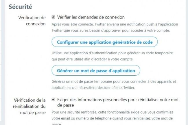 Dans ses paramètres de gestion, Twitter propose maintenant de renforcer l'authentification à son compte via l'application externe de son choix.