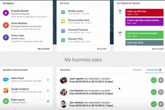 LumApps développe un intranet/réseau social autour de la suite de logiciels collaboratfis Google G (Gmail, Drive, Docs etc...). Crédit. D.R.