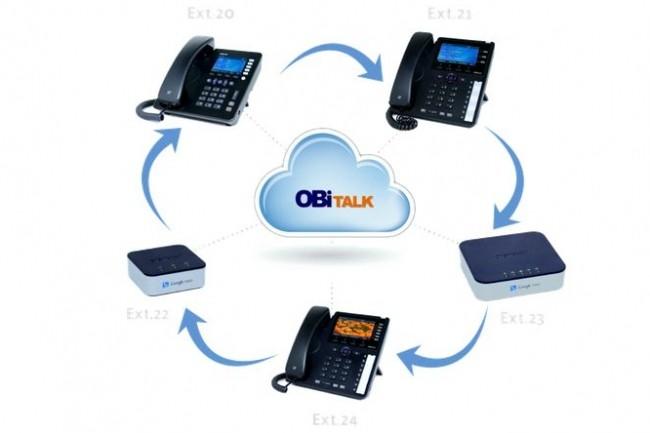 Racheté par Polycom, Obihai Technologies commercialise des terminaux VoIP reliés entre eux à travers son portail Obitalk (ci-dessus les modèles Obi 200, 202 et 1000). crédit : Obihai
