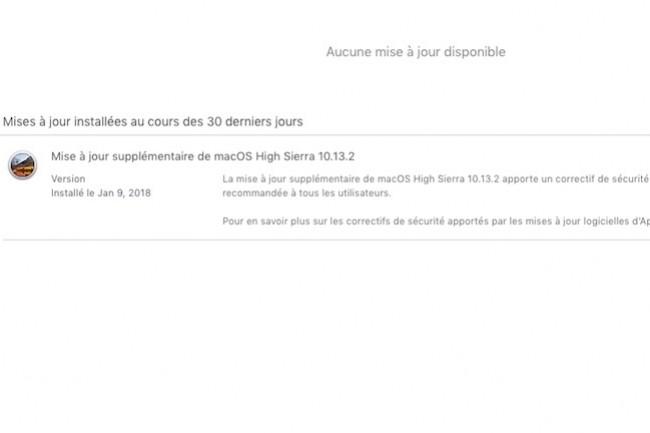 La mise à jour supplémentaire pour MacOS vient bloquer les attaques exploitants la faille Spectre. Meltdown avait été traité en catimini le mois dernier. (crédit : D.R.)