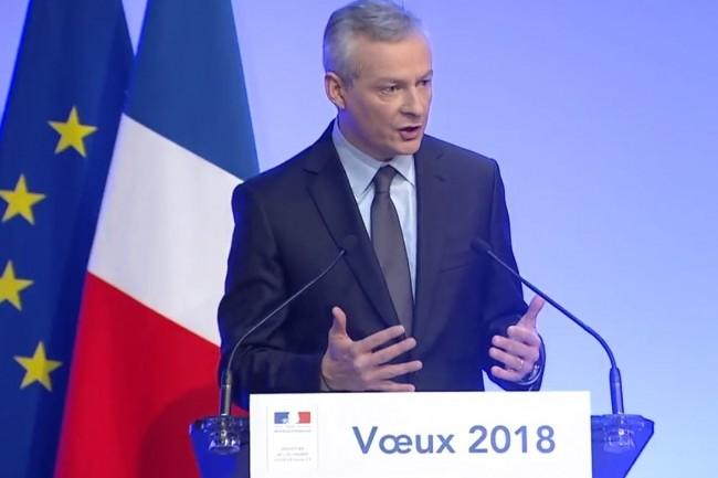 Le ministre de l'Economie et des finances, Bruno Le Maire, à l'occasion de ses voeux à la presse lundi 15 janvier 2018. (crédit : D.R.)