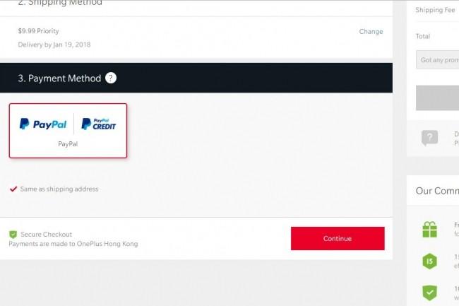 Seuls les paiements via PayPal sont possibles sur la boutique en ligne oneplus.net. (crédit : D.F.)