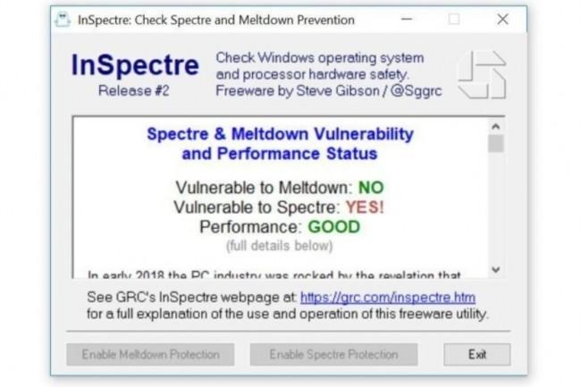 InSpectre fournit un état précis de la sécurité d'un système informatique face aux risques d'exploits des vulnérabilités Spectre et Meltdown. (crédit : Brad Chacos / IDG)